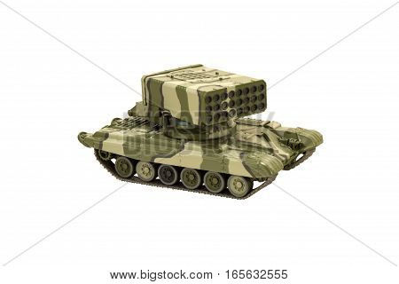 Image of a military tank with cannon isolated on white background