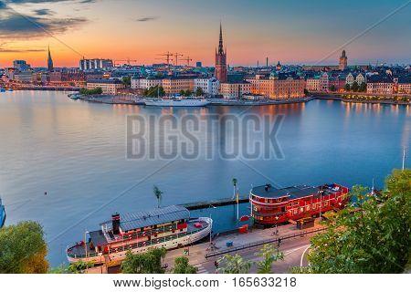 Stockholm. Cityscape image of Stockholm, Sweden during twilight blue hour.