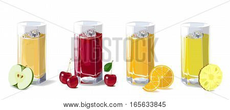 Fruit juices. A set of glasses with fruit juice apple cherry orange and pineapple. Vector