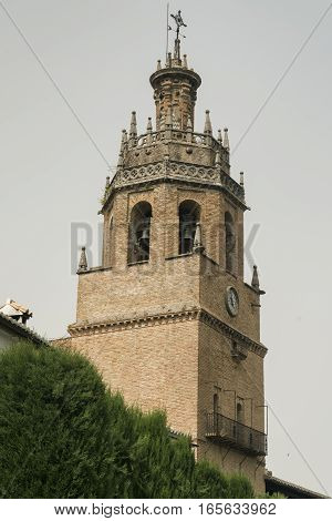 Ronda (Andalucia Spain): belfry of the church known as Parroquia Santa Maria la Mayor