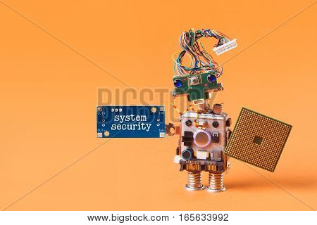 System security concept. Abstract robotic guard with cpu microchip shield and blue plate warning board message hand. orange background