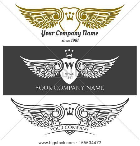Black angel wings logo set. Vector winged labels with crowns and heraldic shields isolated on background. Company logo with pair of wings illustration