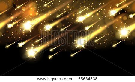 Gold star fall pattern. Holiday awards night vector background with stars rain or awarding shower. Bright comet meteorite in space illustration