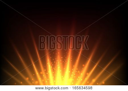 Rise sun and shine earth red and yellow abstract vector background. Sunlight solar illustration, sunshine background