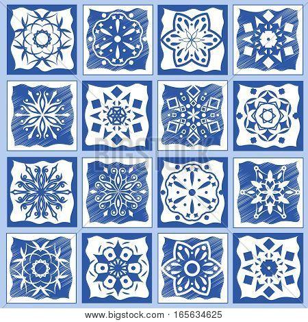 Vintage ceramic tiles vector illustration. Geometric floor tiles design texture set. Ceramic mosaic traditional tiled