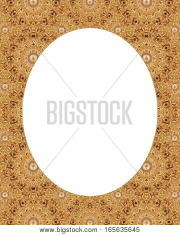 White circle frame background with decorated beige ornate design borders