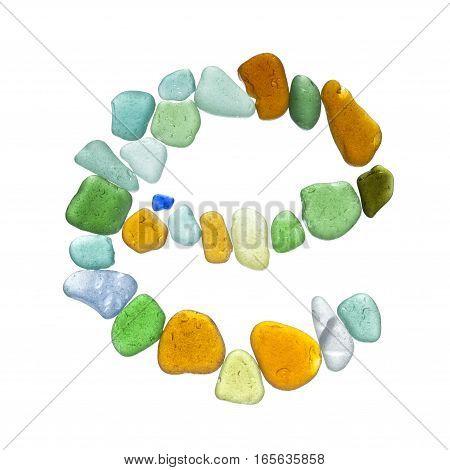 Sea Glass Peices On White