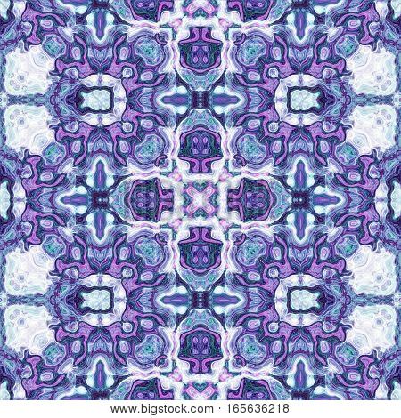 Blue and violet seamless ornate ornamental design pattern