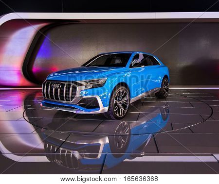 DETROIT MI/USA - JANUARY 12 2017: An Audi e-tron Q8 Concept SUV at the North American International Auto Show (NAIAS).