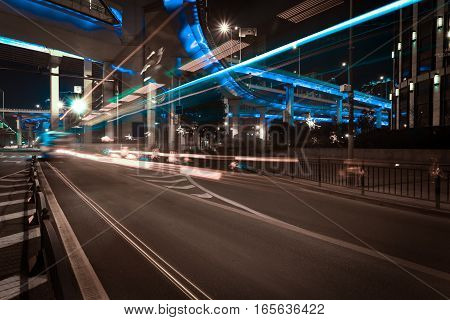 City Road Overpass Viaduct Bridge Of Night Scene