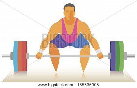 professional man weightlifter prepares to attempt in the snatch of barbell