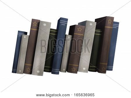 3D Rendering Row Of Books On White