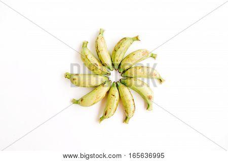 Arranged bananas. Flat lay top view. Creative food concept