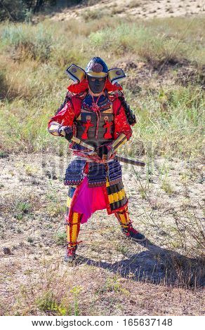 Men in samurai armour with sword. Original Character