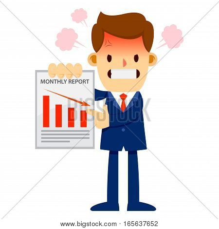 Vector stock of a businessman feeling angry while holding and showing the monthly financial report