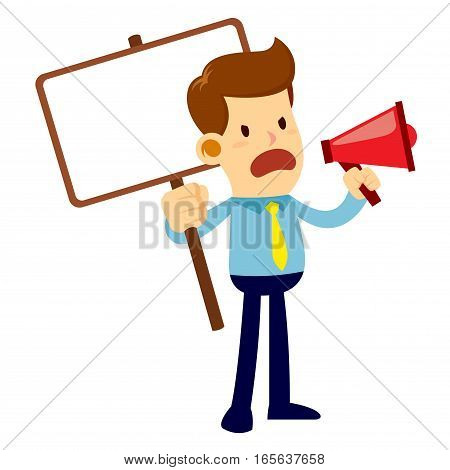 Vector stock of an angry businessman talking and yelling through a loud speaker while holding a blank sign board