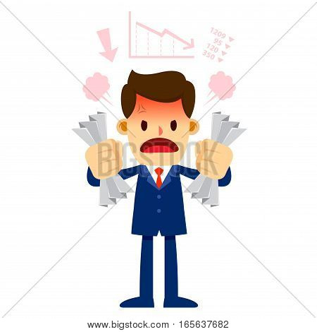 Vector stock of a businessman feeling angry while holding crumpled paper in his hand