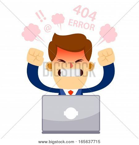 Vector stock of a businessman feeling angry and frustrated in front of his laptop