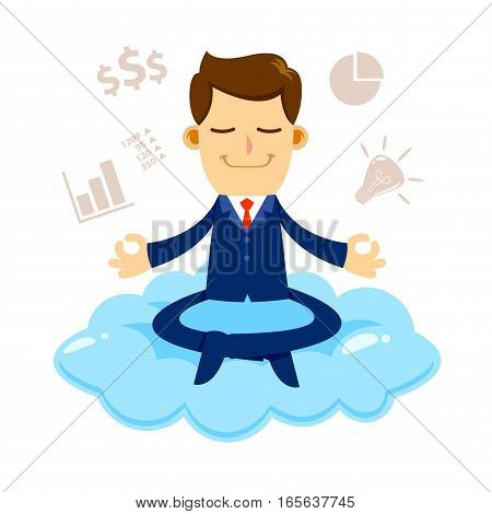 Vector stock of a businessman meditating on a cloud with financial icons and symbols around him