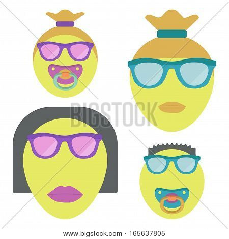 Family emoji with two children. Gay couple. Vector illustration.