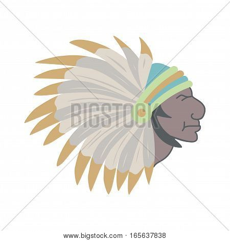 Native American Indian chief with feather headdress. Vector illustrations.