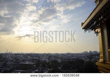 amazing Bangkok scenic urban view of skyline business district from golden mountain viewpoint under sunset sky in Thailand in tourism and holiday destination city concept
