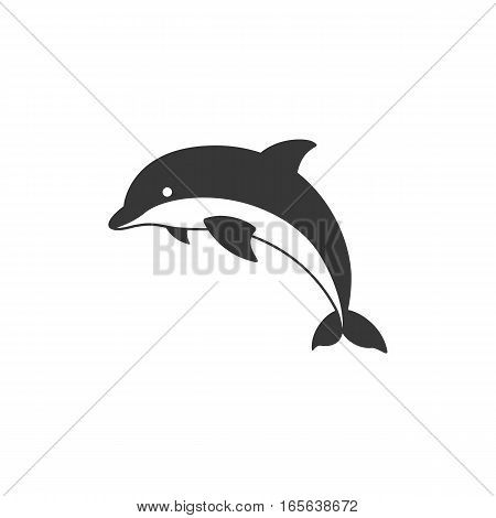 Silhouette dolphin icon vector, isolated vector illustration