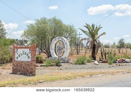 Sign boards at the entrance of Jagersfontein a diamond mining town in the Free State Province of South Africa