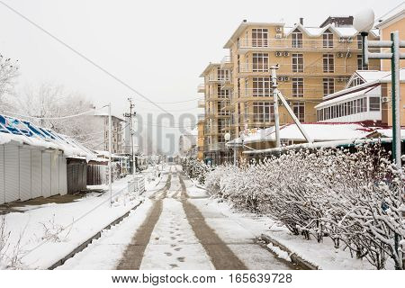 Vityazevo, Russia - January 9, 2017: The Passage To The Sea And Empty Streets In The Winter In The R