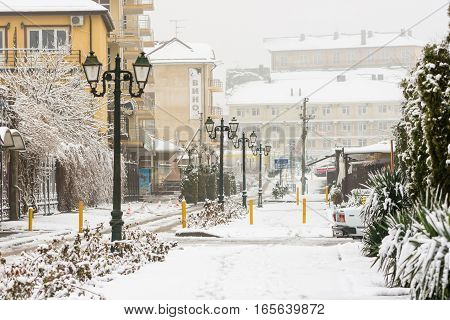 Vityazevo, Russia - January 9, 2017: Winter Snowy Urban Landscape In The Resort Village Vityazevo, K