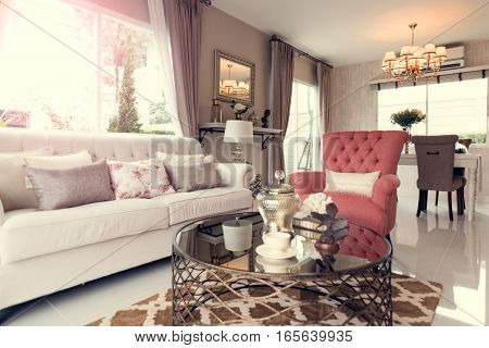 Beautiful Room Interior With Hardwood Floors And View Of New Luxury Home