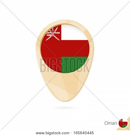 Map Pointer With Flag Of Oman. Orange Abstract Map Icon.