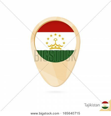 Map Pointer With Flag Of Tajikistan. Orange Abstract Map Icon.