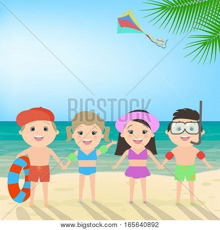 Summer beach holiday. Children on the beach. Sea landscape vector cartoon