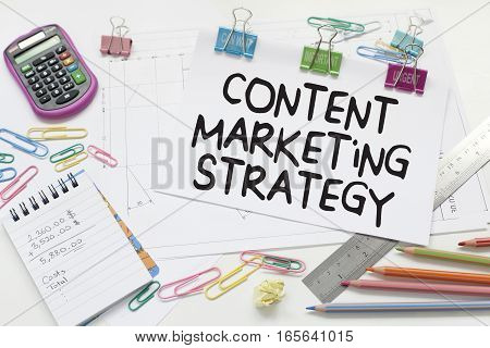 Content marketing strategy business concept in office