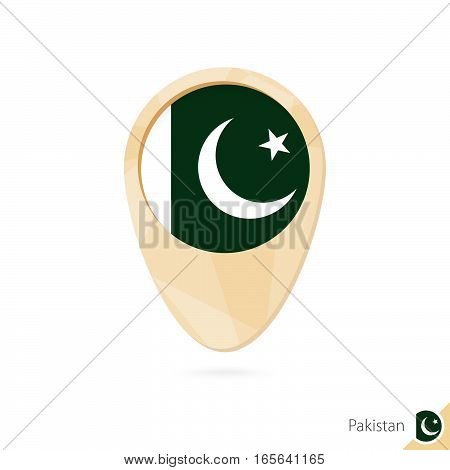 Map Pointer With Flag Of Pakistan. Orange Abstract Map Icon.