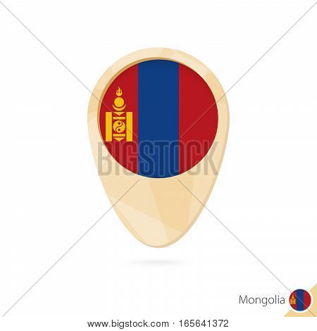 Map Pointer With Flag Of Mongolia. Orange Abstract Map Icon.