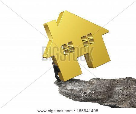 Man Holding Golden House On Cliff Edge