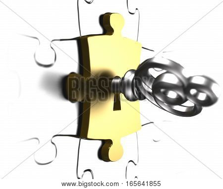 Silver Key With Gold Puzzle Piece 3D Rendering