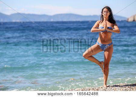 Young Lovely Brunette Girl, Posing In Yoga Position