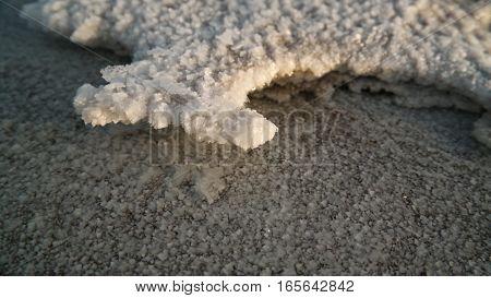 Salt structure close-up in Salt Lake Karum aka Lake Assale or Asale in Danakil depression Afar Ethiopia