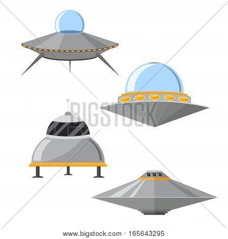 Cartoon Ufo Cosmic Ship and Flying Saucer Set for Transportation Flat Design Style. Vector illustration