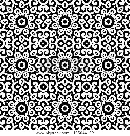 Vector seamless vintage pattern. Floral black and white geometric ornament