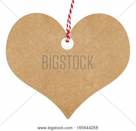 Gift tag love heart shaped made from brown cardboard with string on an isolated white background