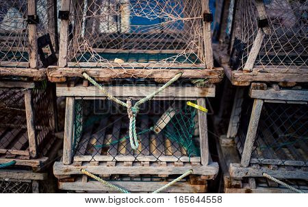 Row of lobster traps at a harbour in Prince Edward Island
