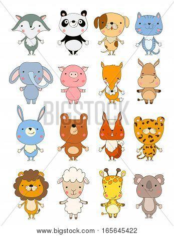 set of cute cartoon baby animals. vector