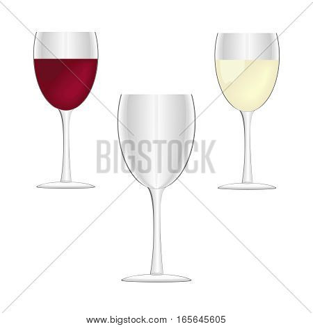 Wine glasses - empty red wine and white wine. Vector illustration. Isolated on white background