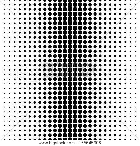 Vector seamless pattern, different sized circles & dots, vertical rows, black & white halftone transition. Abstract monochrome endless texture. Design for prints, decoration, digital, textile, web