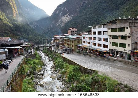 AGUAS CALIENTES PERU - September 02 2016: View of Machupicchu or Machupicchu Pueblo also known as Aguas Calientes. Aguas Calientes is town on the Urubamba River in Peru South America