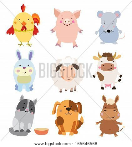 Vector Set of Cute Farm Animals and Pets Isolated on White.